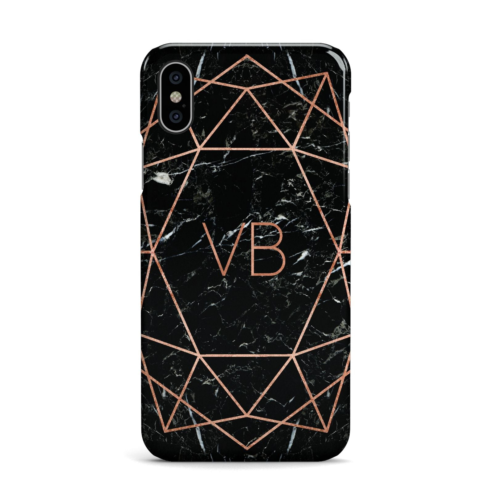 Personalised Rose Gold Geometric Initials Apple iPhone X Case