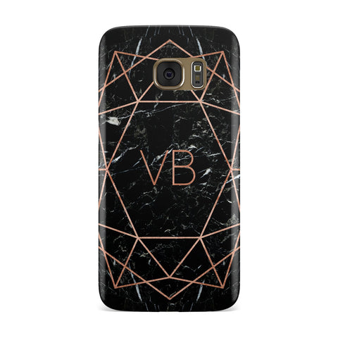 Personalised Rose Gold Geometric Initials Samsung Galaxy Case