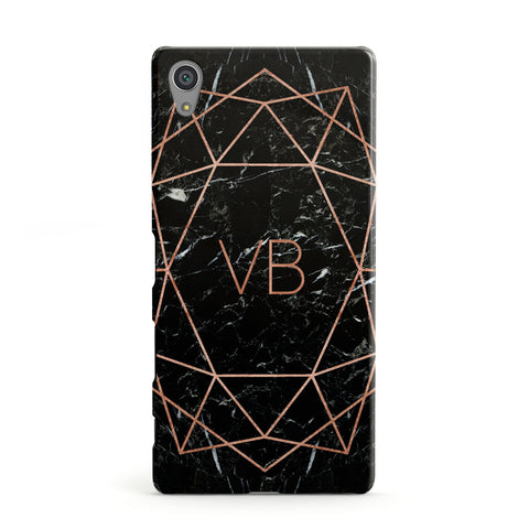 Personalised Rose Gold Geometric Initials Sony Xperia Case