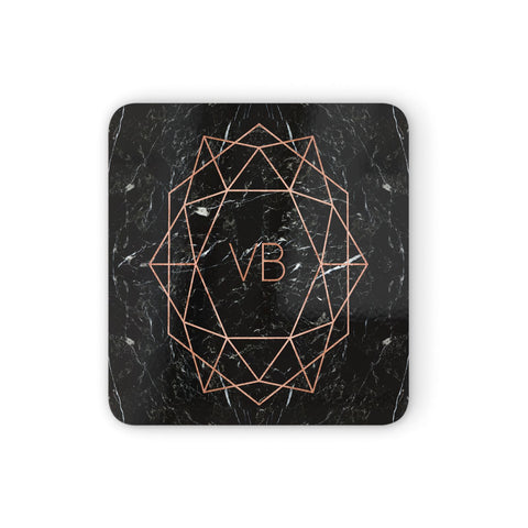 Personalised Rose Gold Geometric Initials Coasters set of 4