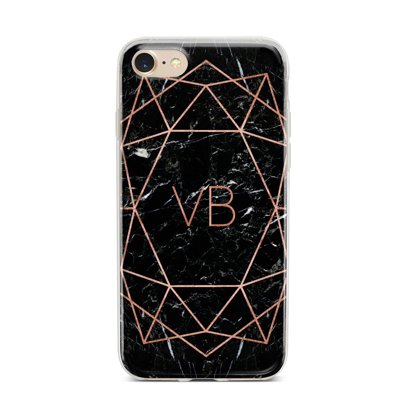 Personalised Rose Gold Geometric Initials iPhone 7 Bumper Case on Gold iPhone
