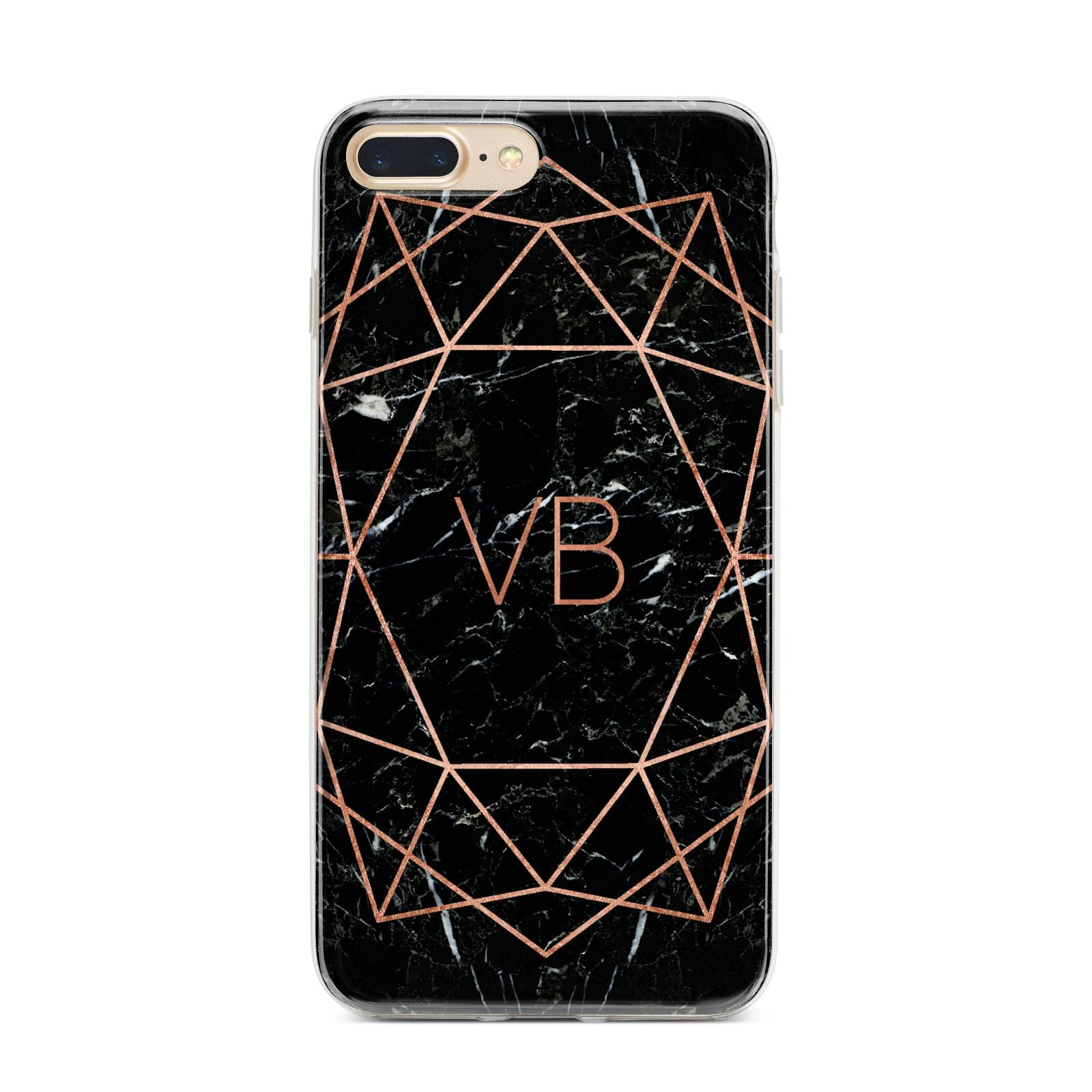 Personalised Rose Gold Geometric Initials iPhone 7 Plus Bumper Case on Gold iPhone