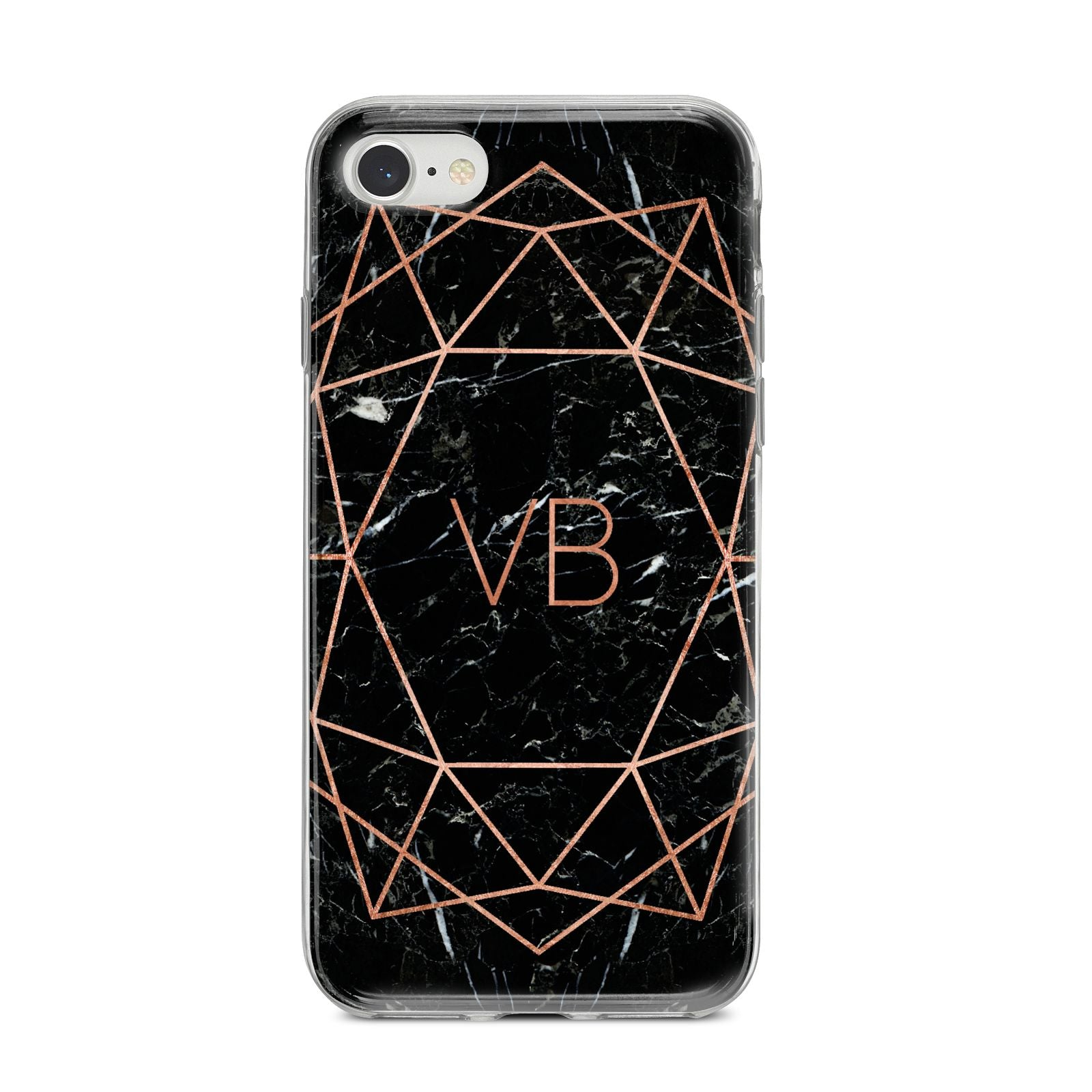 Personalised Rose Gold Geometric Initials iPhone 8 Bumper Case on Silver iPhone