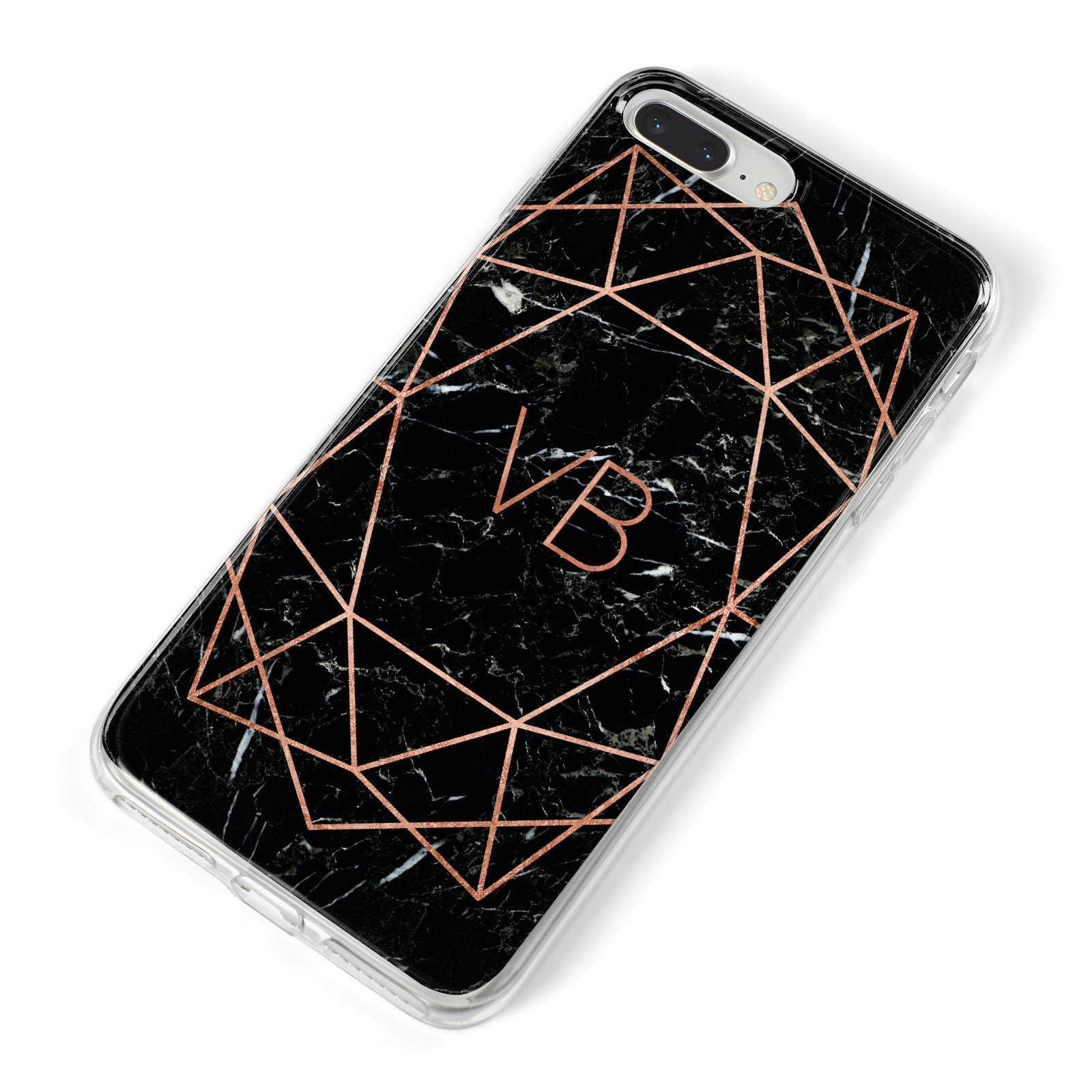 Personalised Rose Gold Geometric Initials iPhone 8 Plus Bumper Case on Silver iPhone Alternative Image