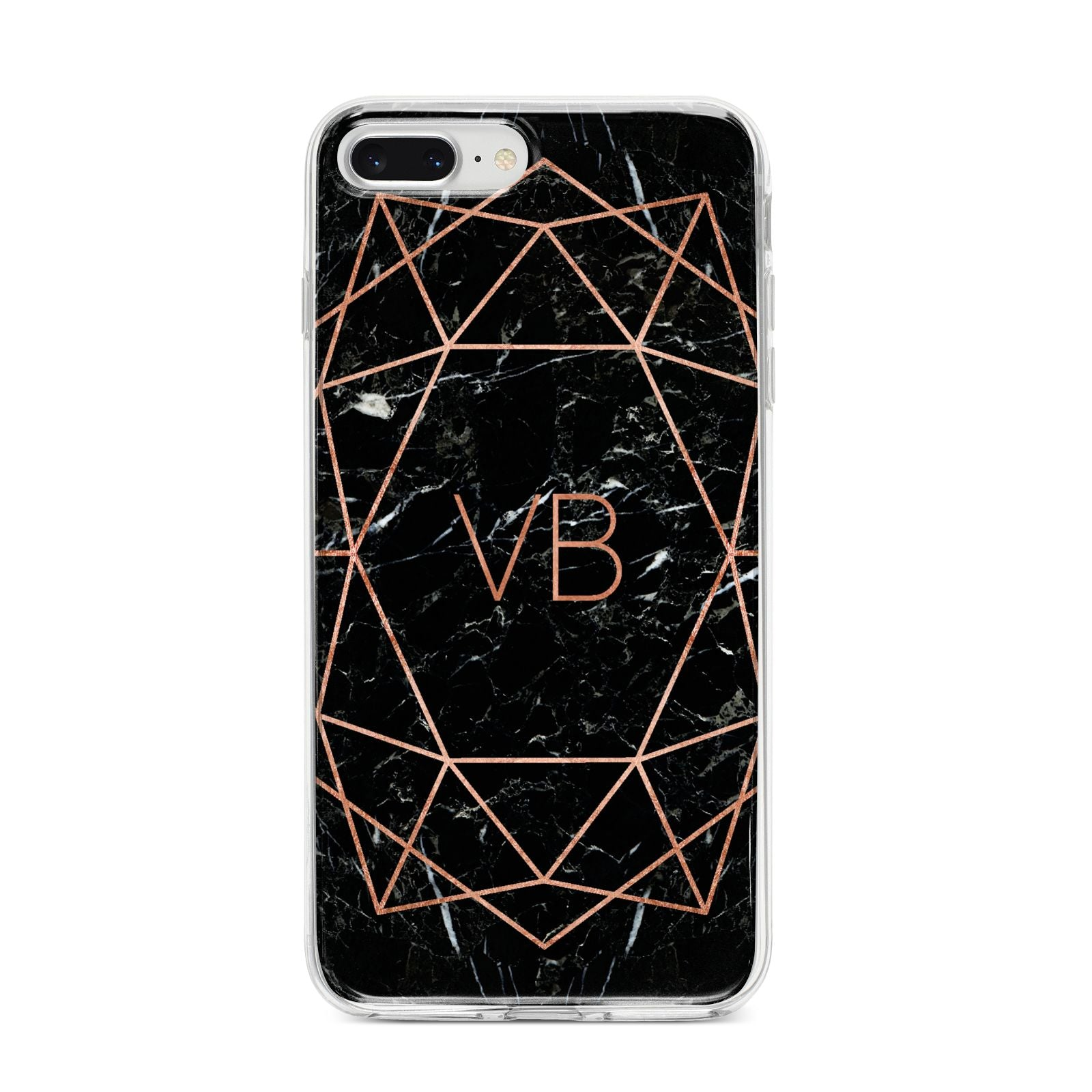 Personalised Rose Gold Geometric Initials iPhone 8 Plus Bumper Case on Silver iPhone