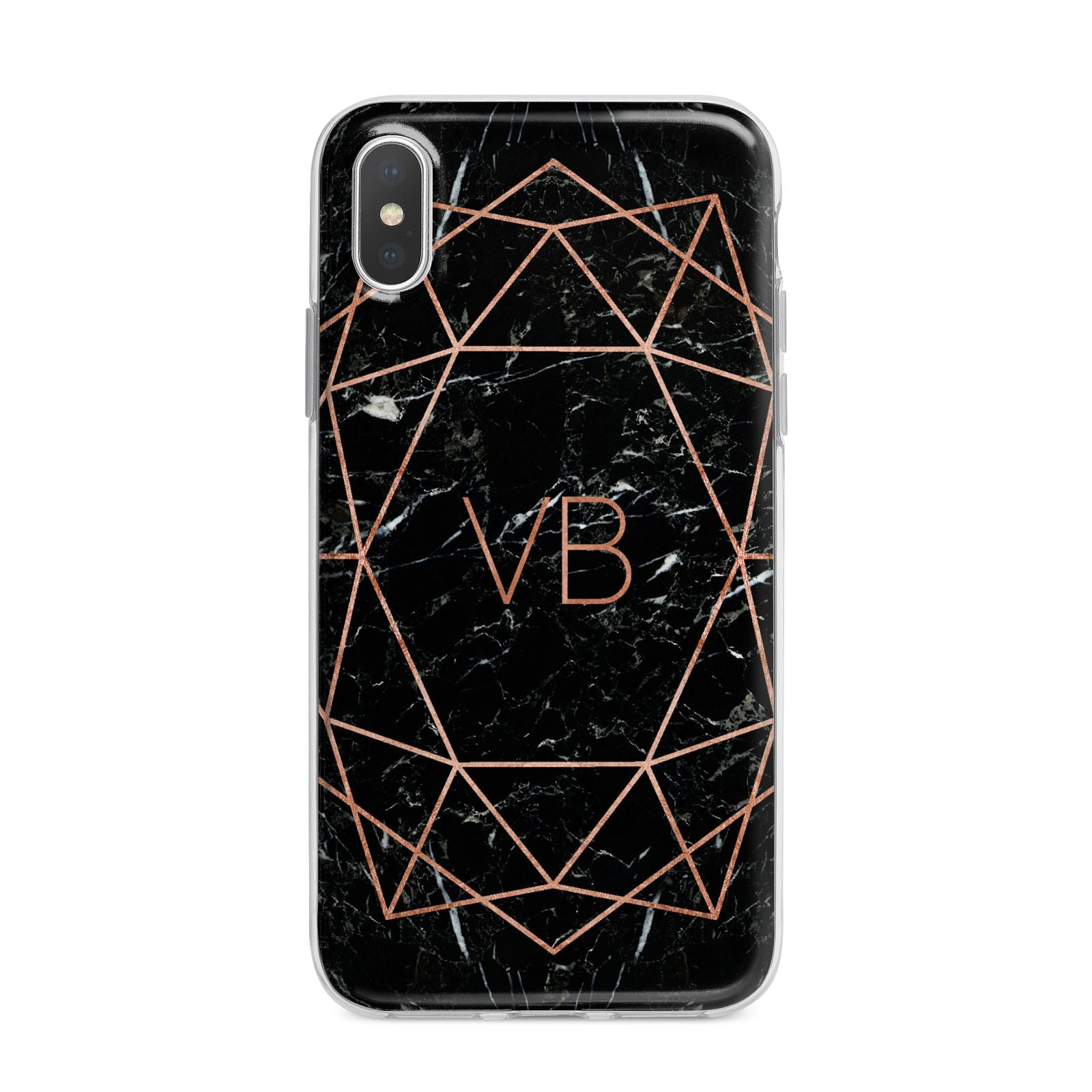 Personalised Rose Gold Geometric Initials iPhone X Bumper Case on Silver iPhone Alternative Image 1