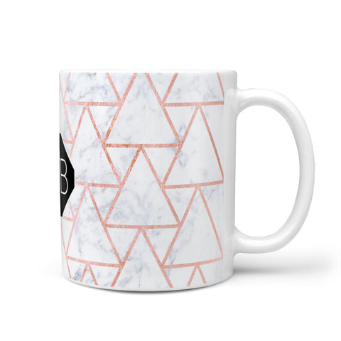Personalised Rose Gold Grey Marble Hexagon Mug