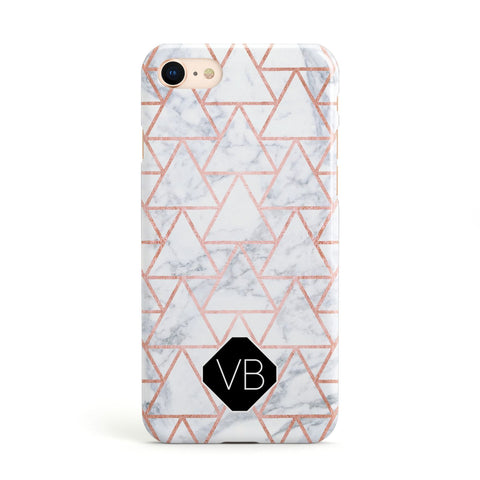Personalised Rose Gold Grey Marble Hexagon Apple iPhone Case
