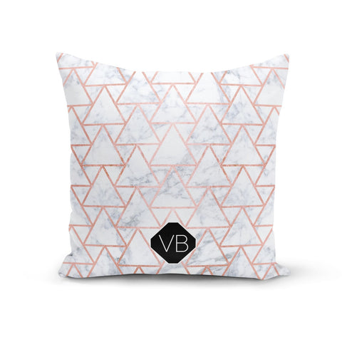 Personalised Rose Gold Grey Marble Hexagon Cushion