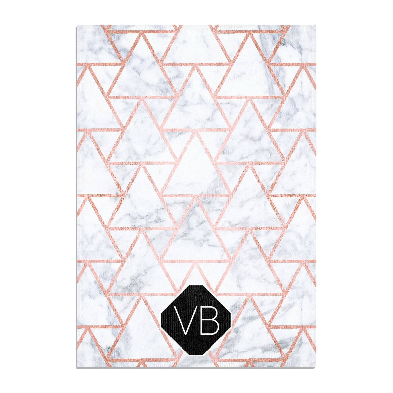 Personalised Rose Gold Grey Marble Hexagon Cotton Tea Towel