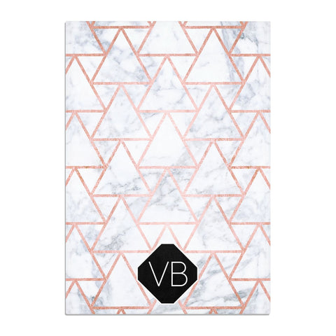 Personalised Rose Gold Grey Marble Hexagon Tea Towel