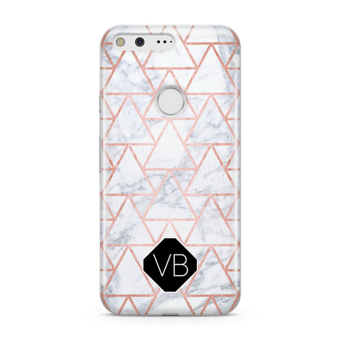 Personalised Rose Gold Grey Marble Hexagon Google Case