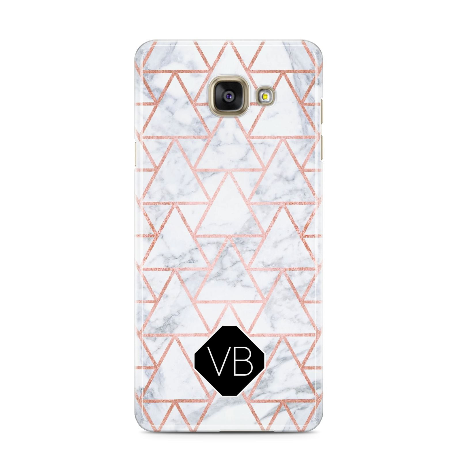 Personalised Rose Gold Grey Marble Hexagon Samsung Galaxy A3 2016 Case on gold phone