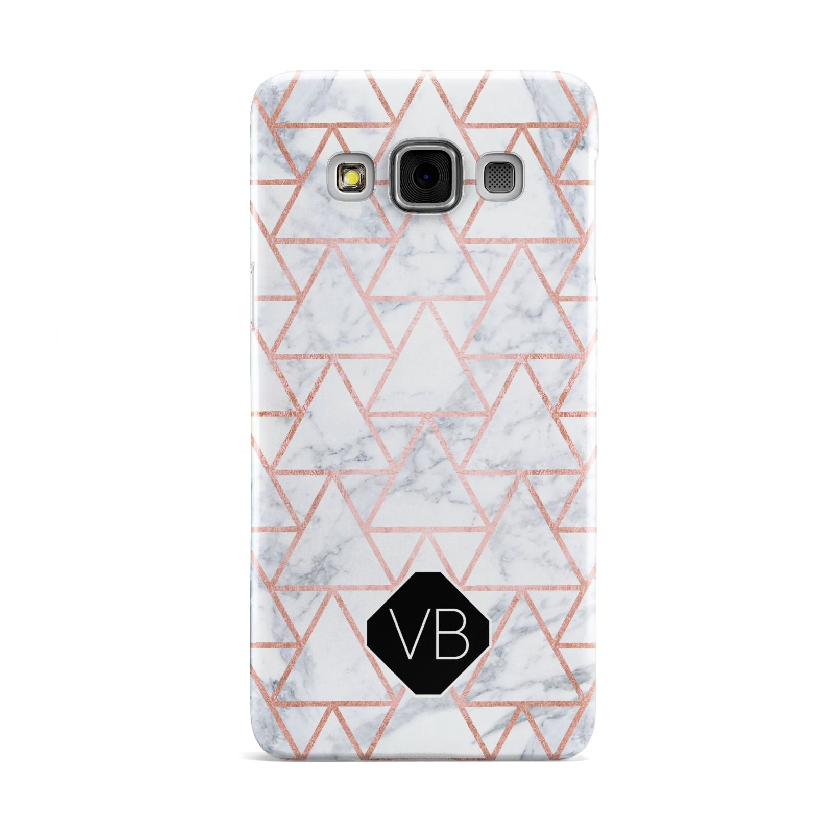 Personalised Rose Gold Grey Marble Hexagon Samsung Galaxy A3 Case