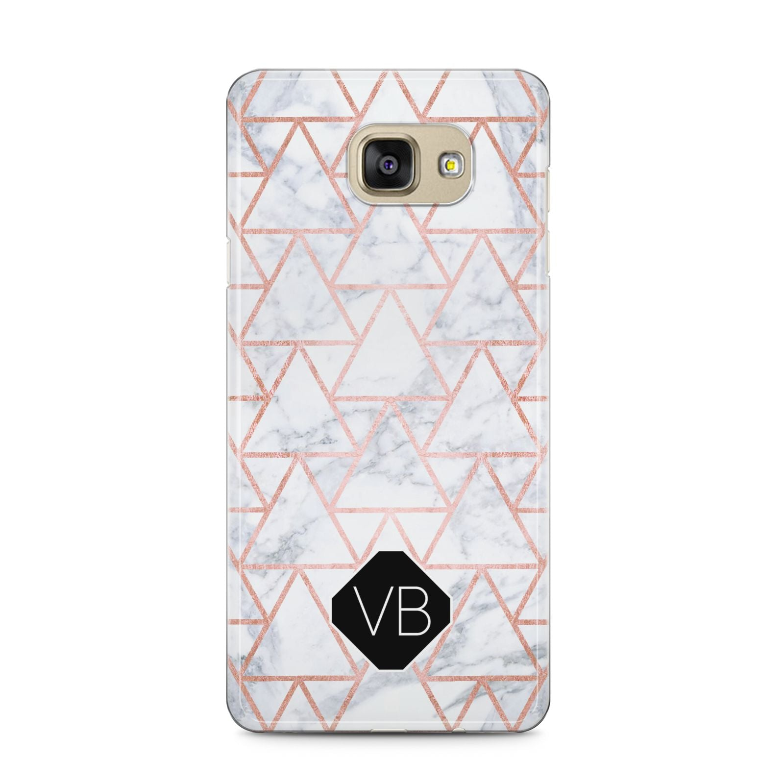 Personalised Rose Gold Grey Marble Hexagon Samsung Galaxy A5 2016 Case on gold phone