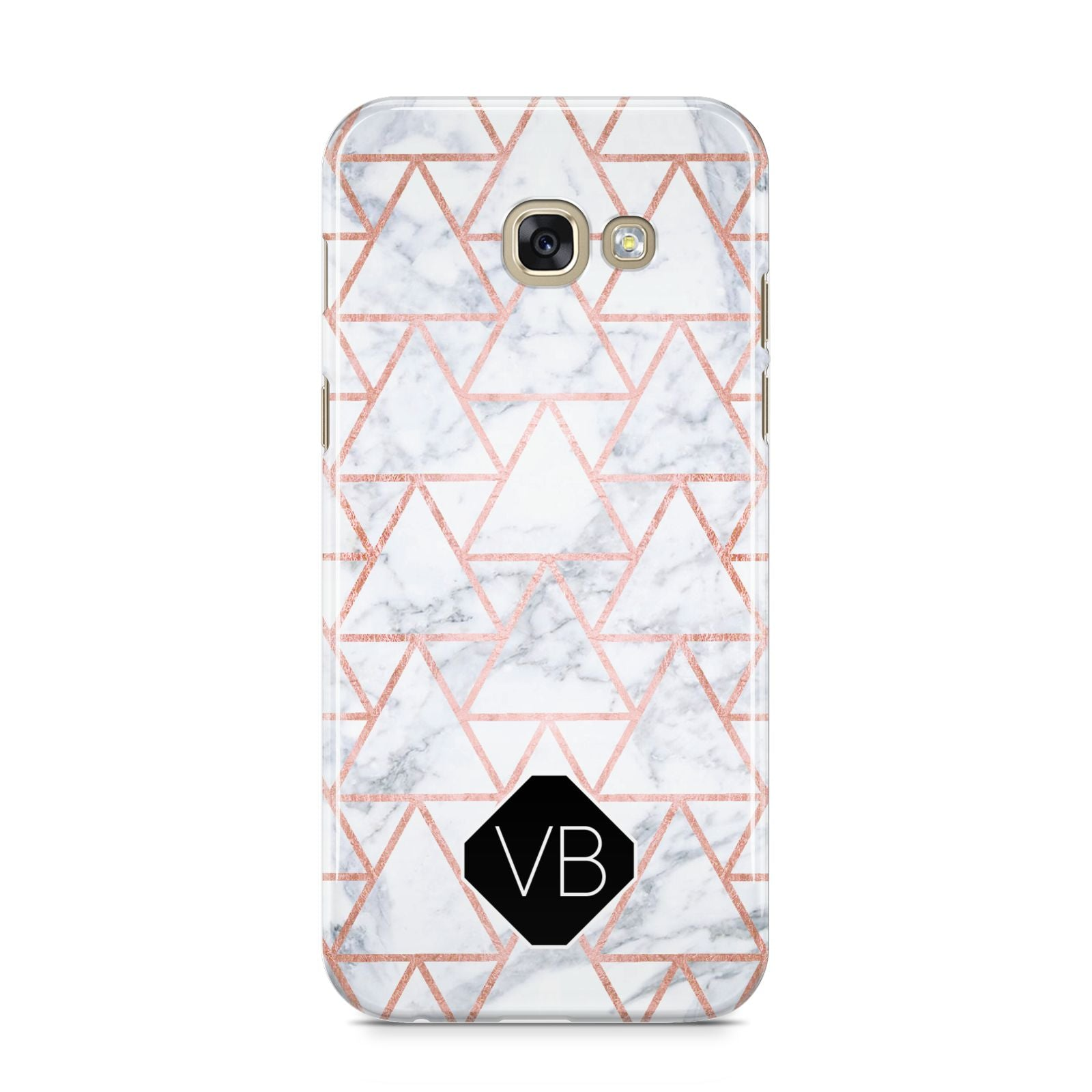 Personalised Rose Gold Grey Marble Hexagon Samsung Galaxy A5 2017 Case on gold phone