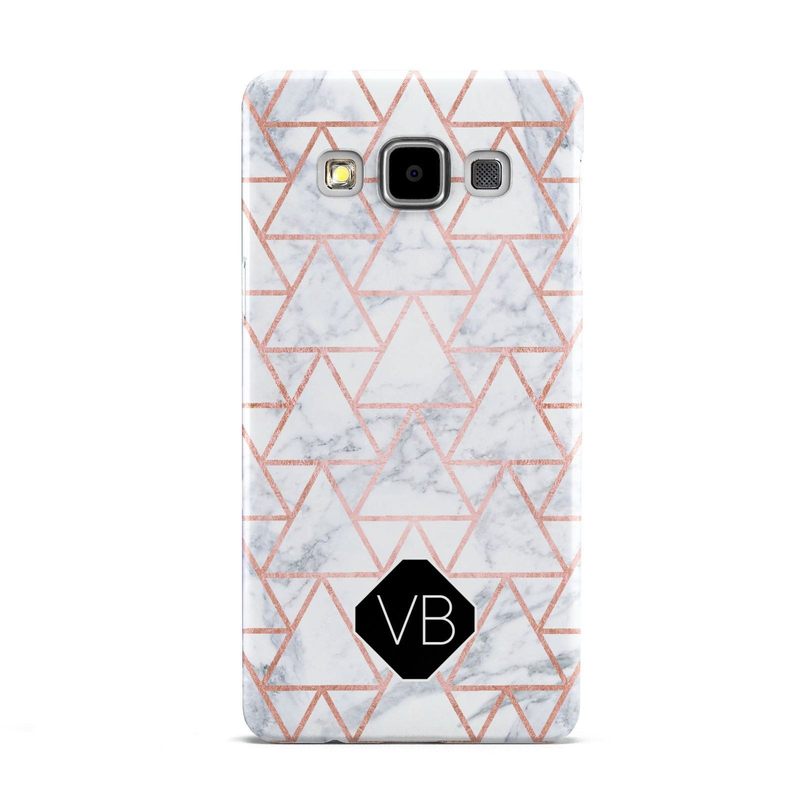 Personalised Rose Gold Grey Marble Hexagon Samsung Galaxy A5 Case