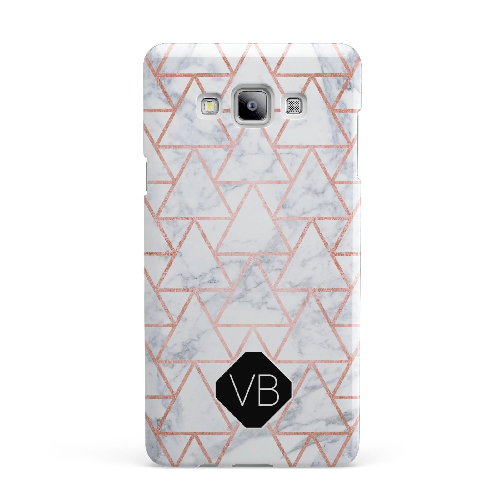 Personalised Rose Gold Grey Marble Hexagon Samsung Galaxy A7 2015 Case