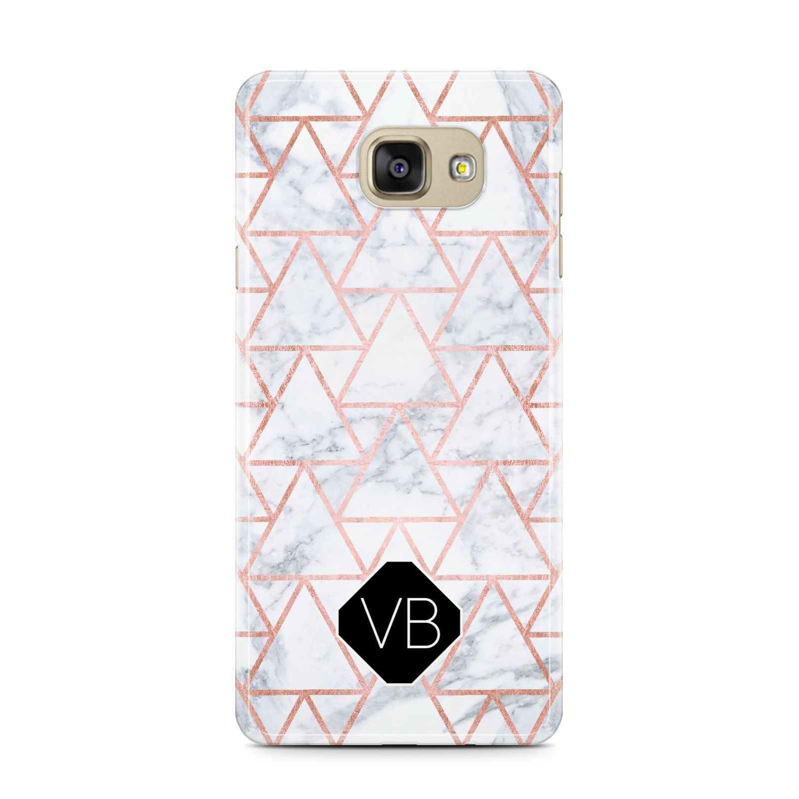 Personalised Rose Gold Grey Marble Hexagon Samsung Galaxy A7 2016 Case on gold phone