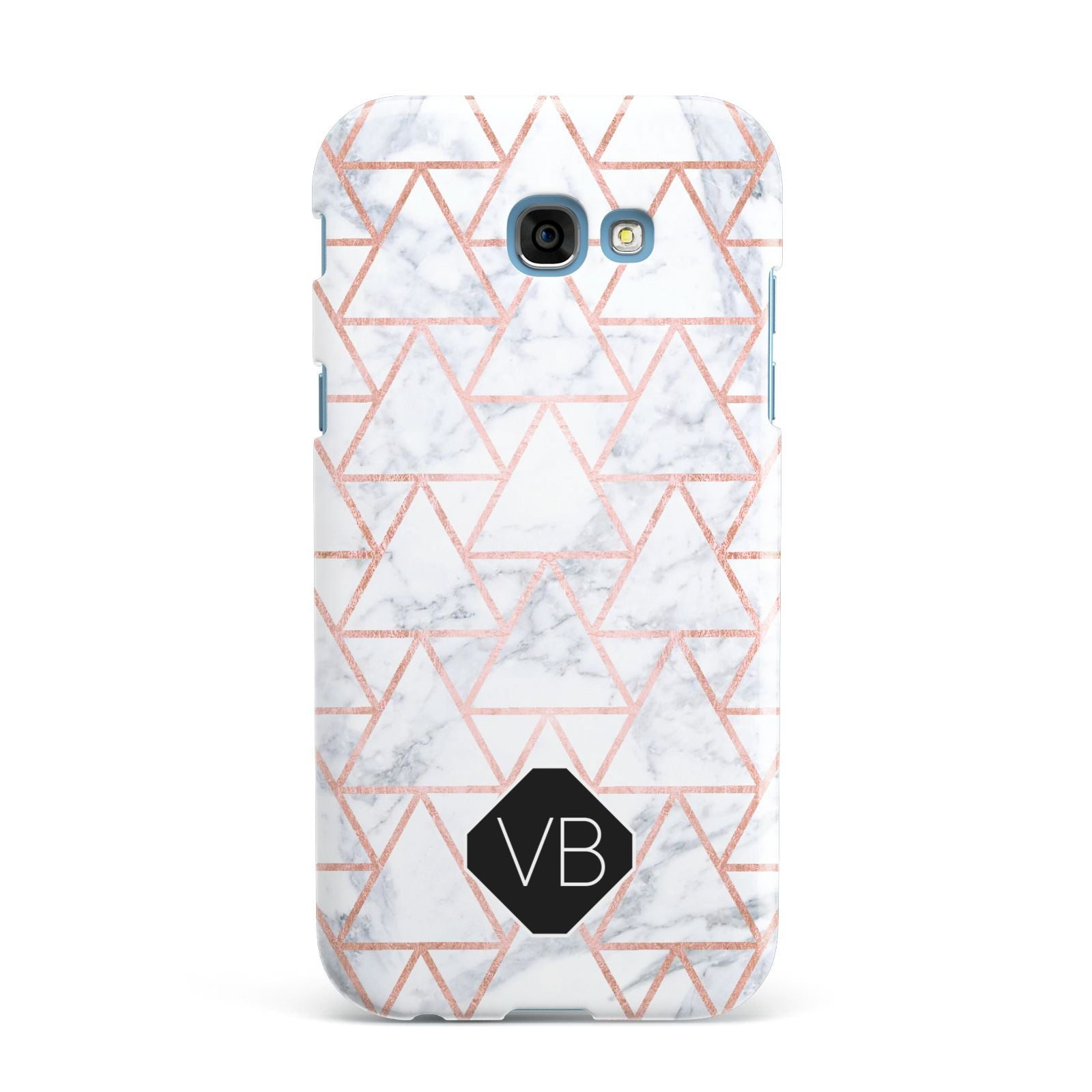 Personalised Rose Gold Grey Marble Hexagon Samsung Galaxy A7 2017 Case