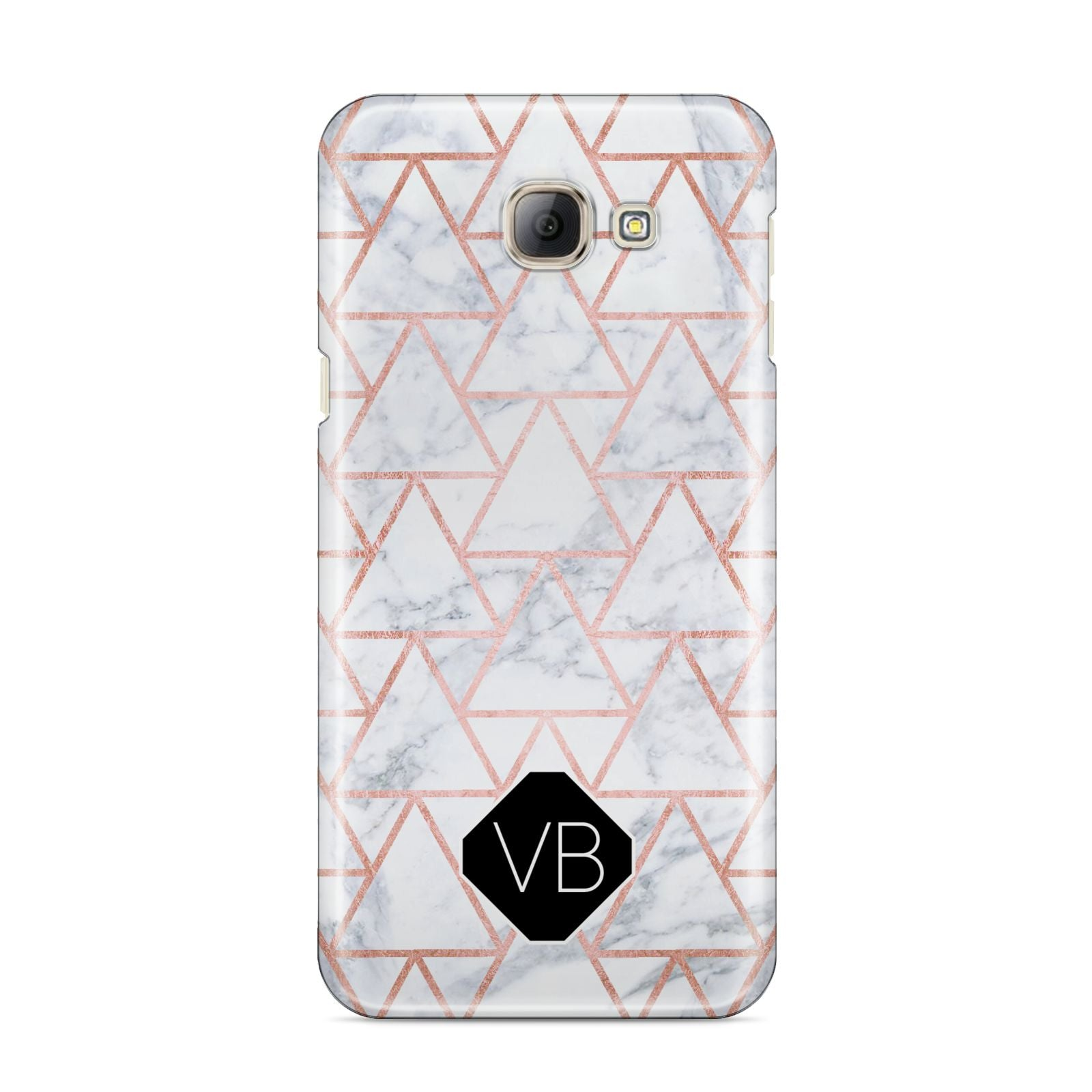 Personalised Rose Gold Grey Marble Hexagon Samsung Galaxy A8 2016 Case