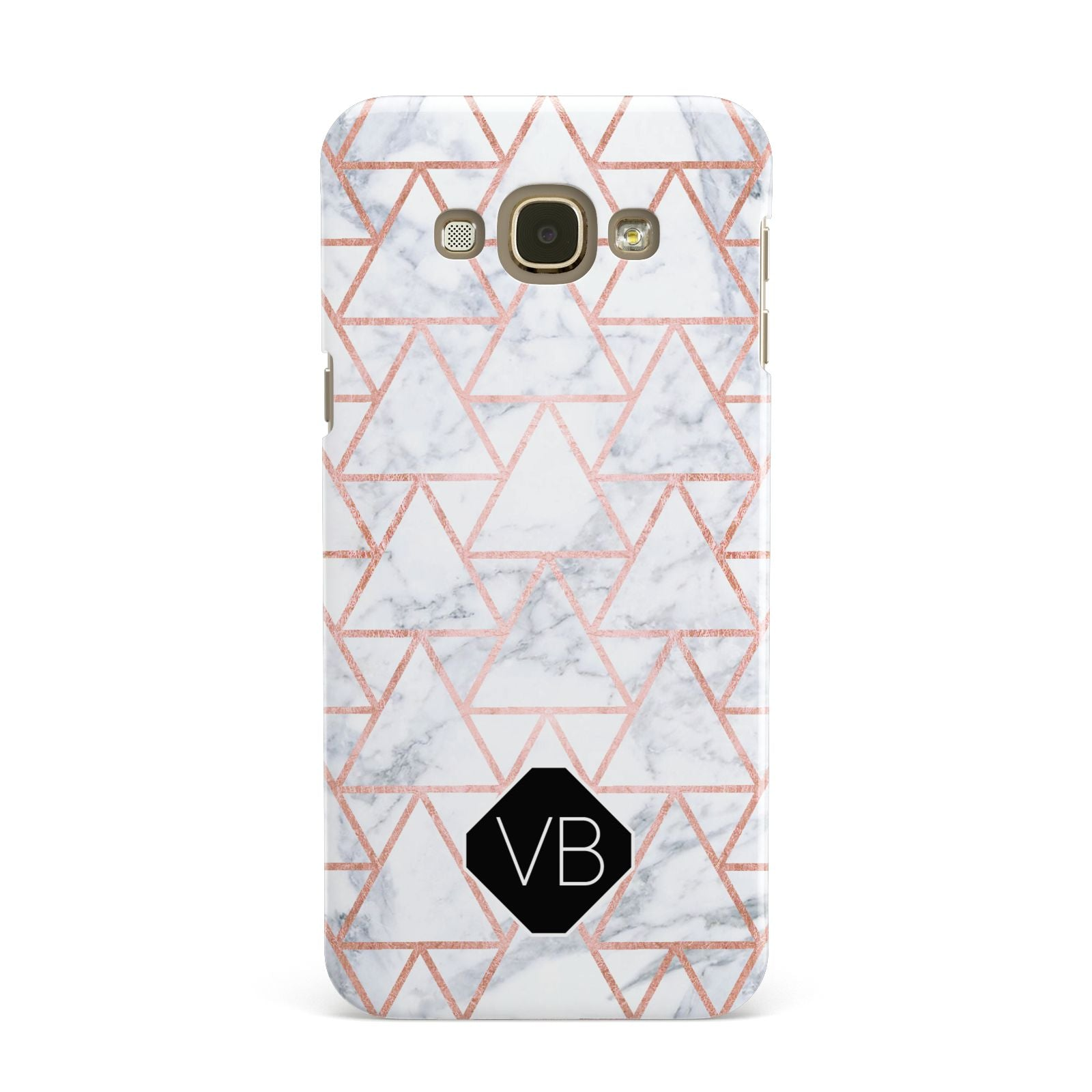 Personalised Rose Gold Grey Marble Hexagon Samsung Galaxy A8 Case