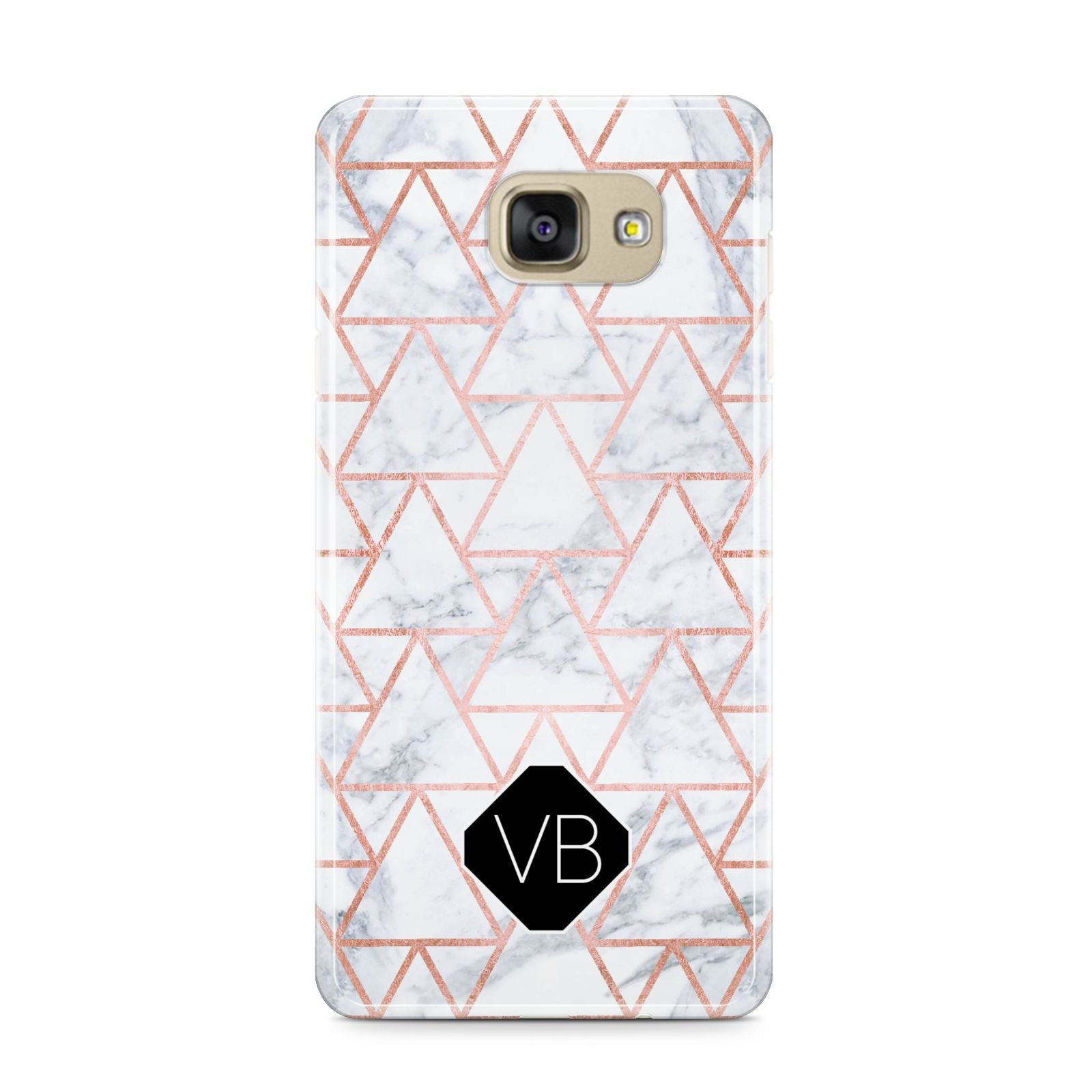 Personalised Rose Gold Grey Marble Hexagon Samsung Galaxy A9 2016 Case on gold phone
