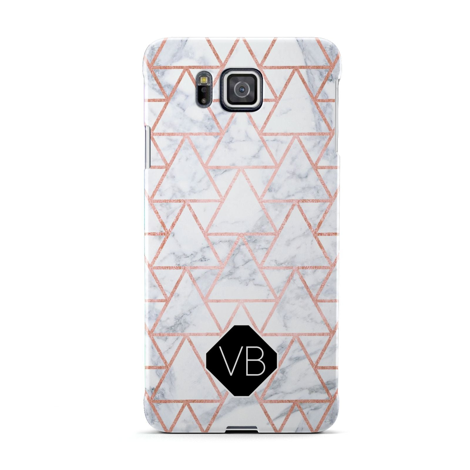 Personalised Rose Gold Grey Marble Hexagon Samsung Galaxy Alpha Case