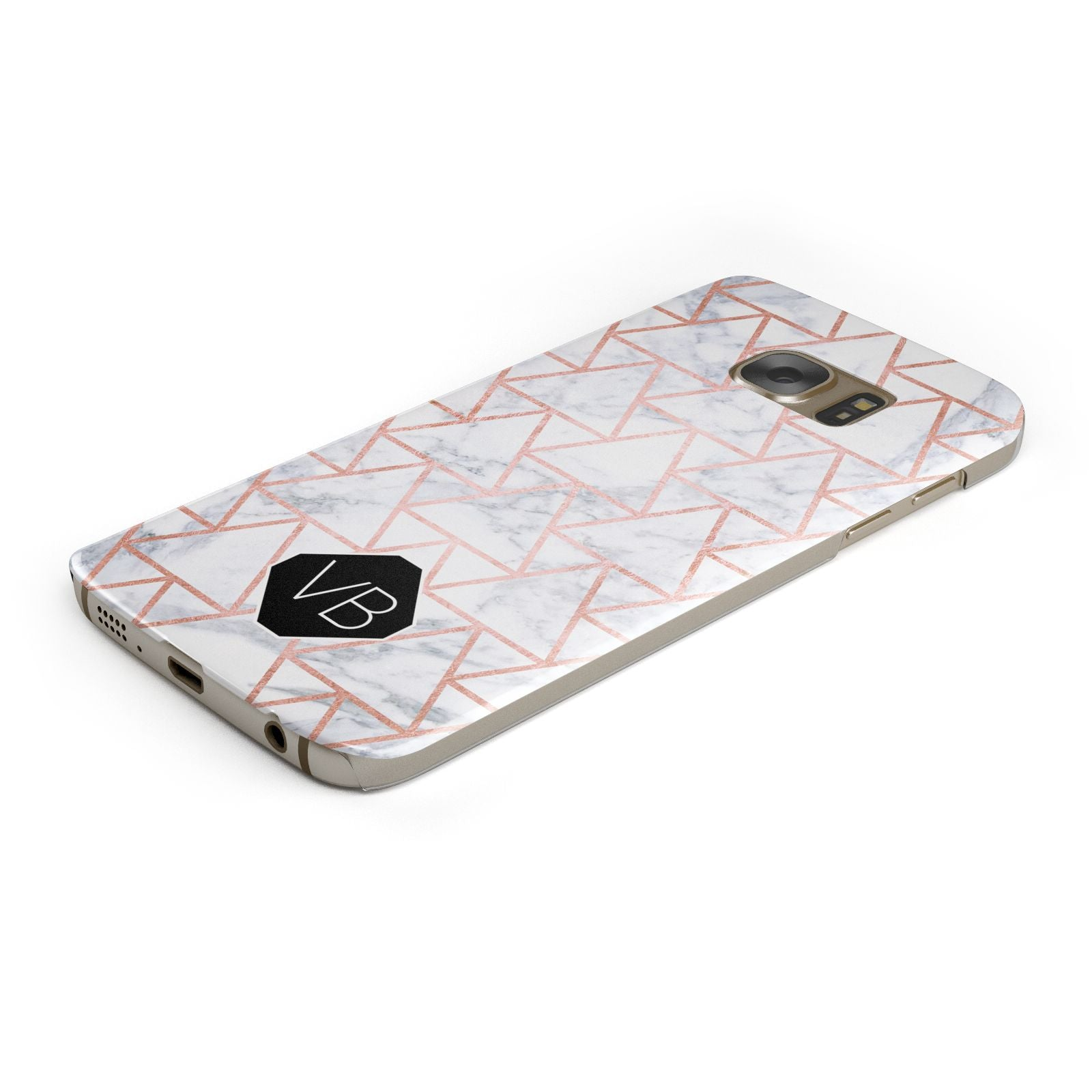 Personalised Rose Gold Grey Marble Hexagon Samsung Galaxy Case Bottom Cutout