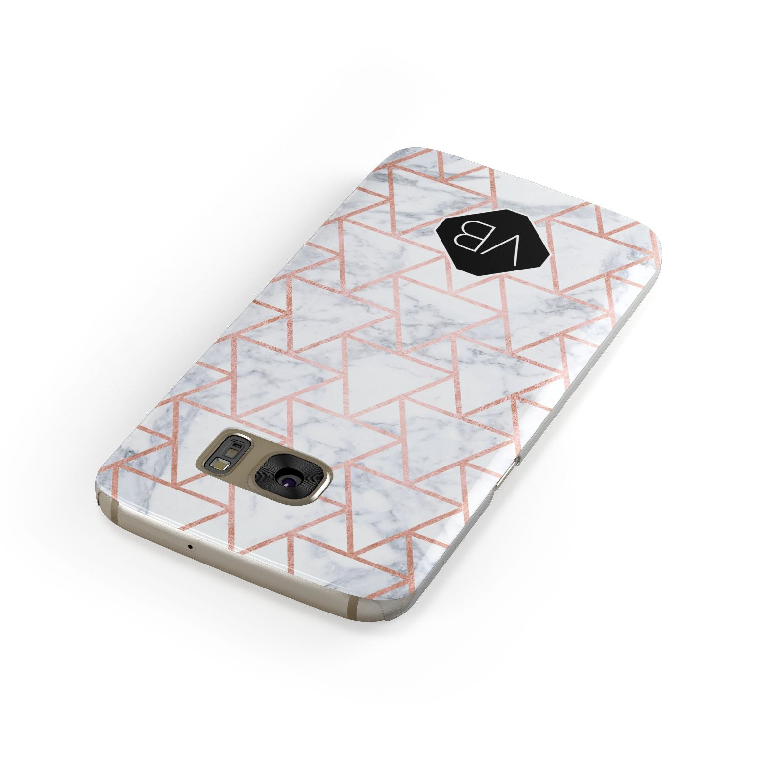 Personalised Rose Gold Grey Marble Hexagon Samsung Galaxy Case Front Close Up