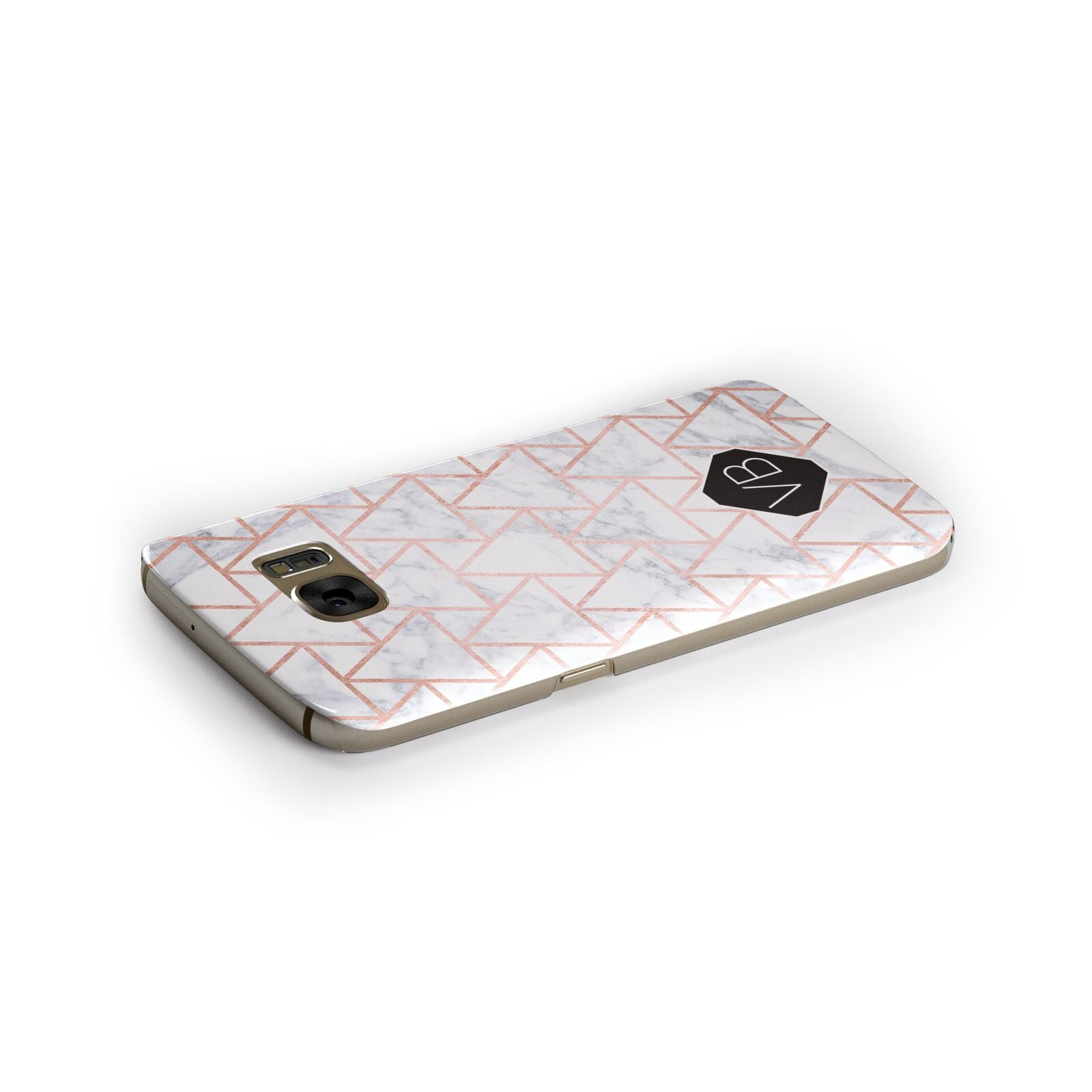 Personalised Rose Gold Grey Marble Hexagon Samsung Galaxy Case Side Close Up