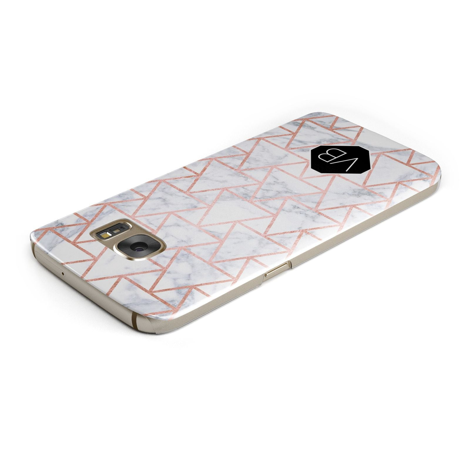 Personalised Rose Gold Grey Marble Hexagon Samsung Galaxy Case Top Cutout