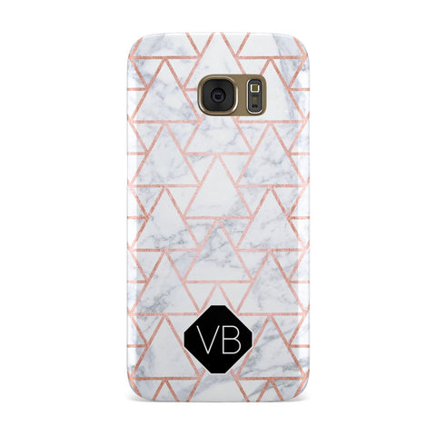 Personalised Rose Gold Grey Marble Hexagon Samsung Galaxy Case