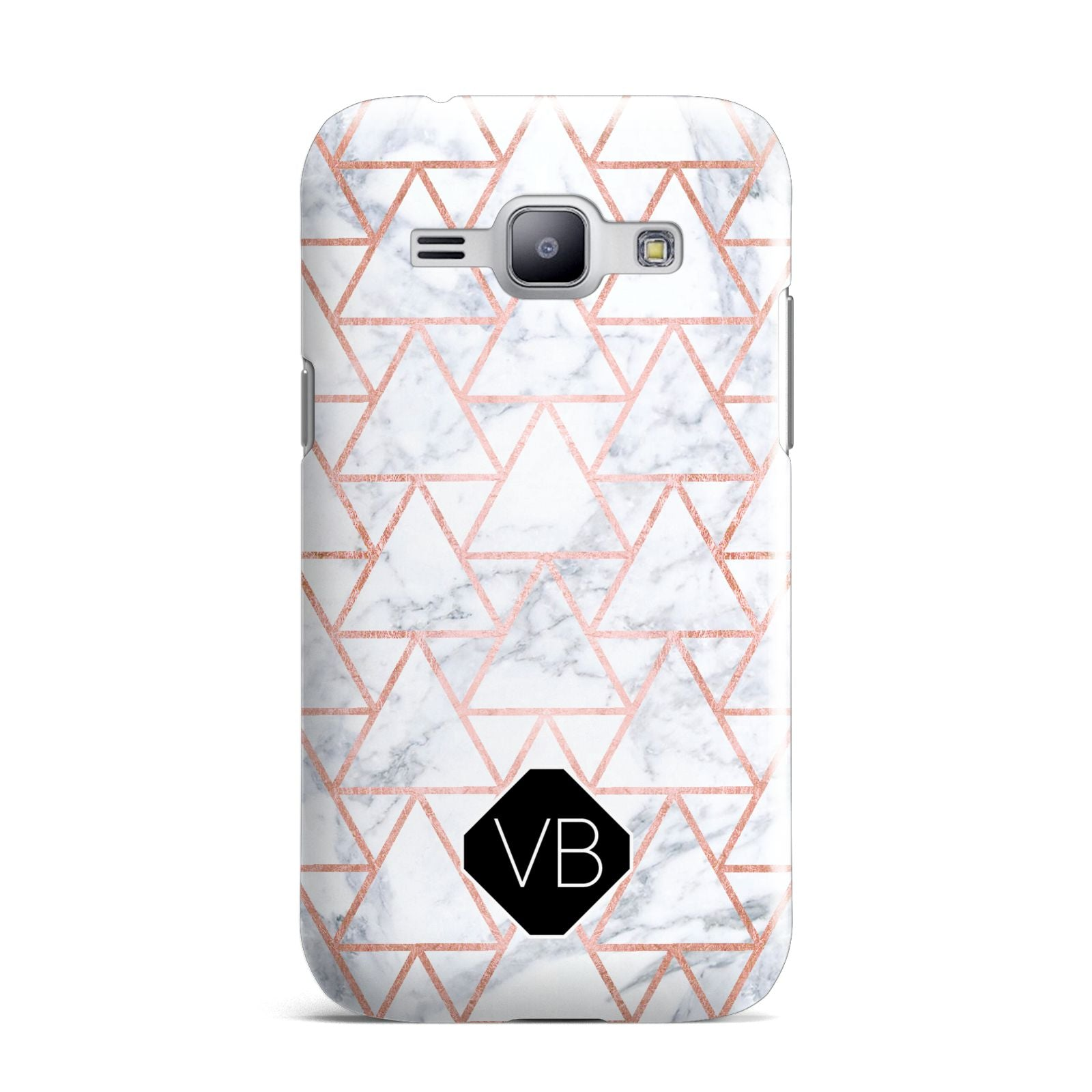 Personalised Rose Gold Grey Marble Hexagon Samsung Galaxy J1 2015 Case