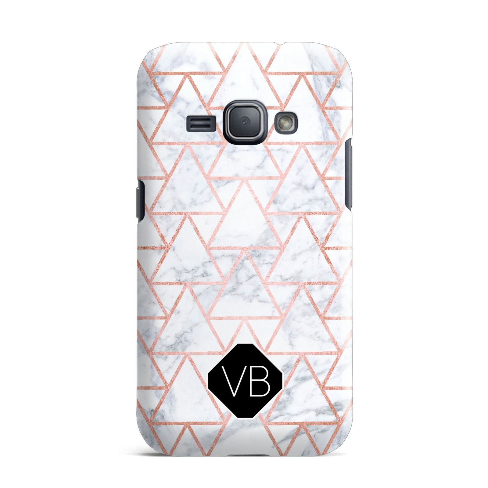 Personalised Rose Gold Grey Marble Hexagon Samsung Galaxy J1 2016 Case