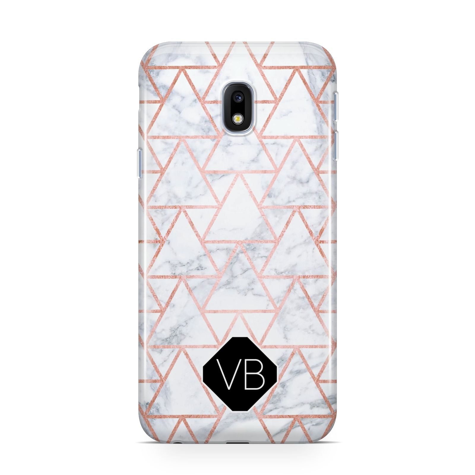 Personalised Rose Gold Grey Marble Hexagon Samsung Galaxy J3 2017 Case