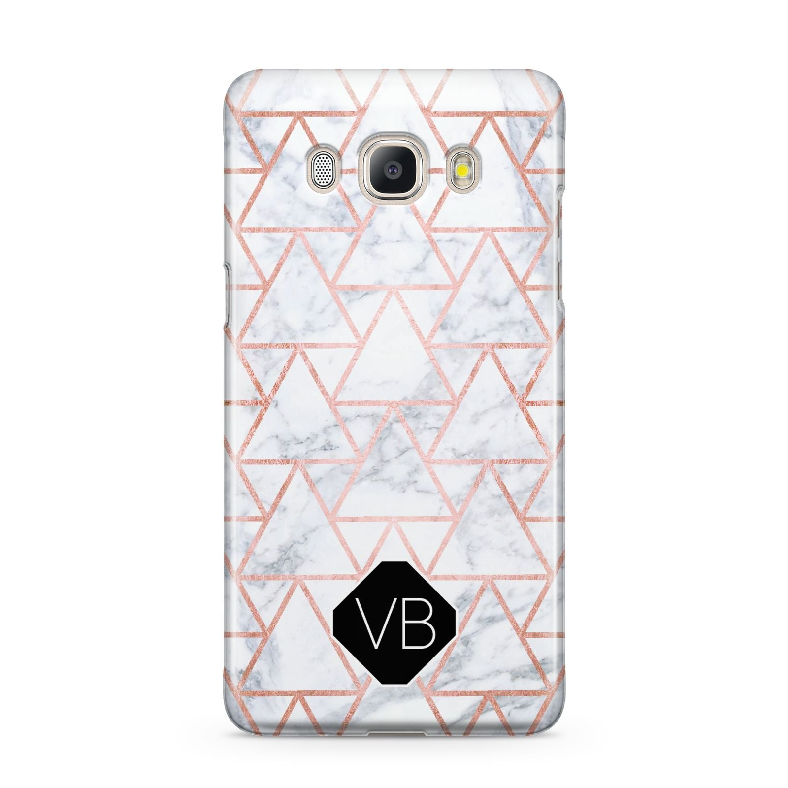 Personalised Rose Gold Grey Marble Hexagon Samsung Galaxy J5 2016 Case