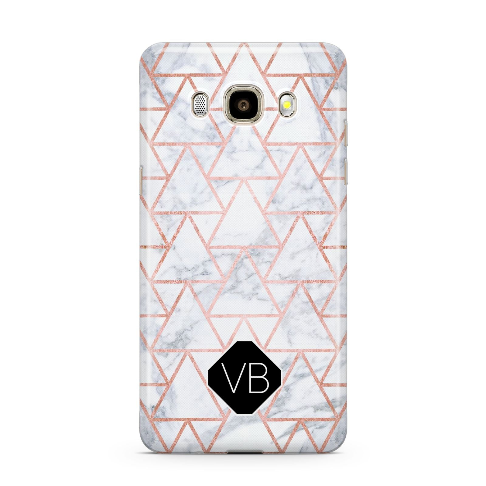 Personalised Rose Gold Grey Marble Hexagon Samsung Galaxy J7 2016 Case on gold phone