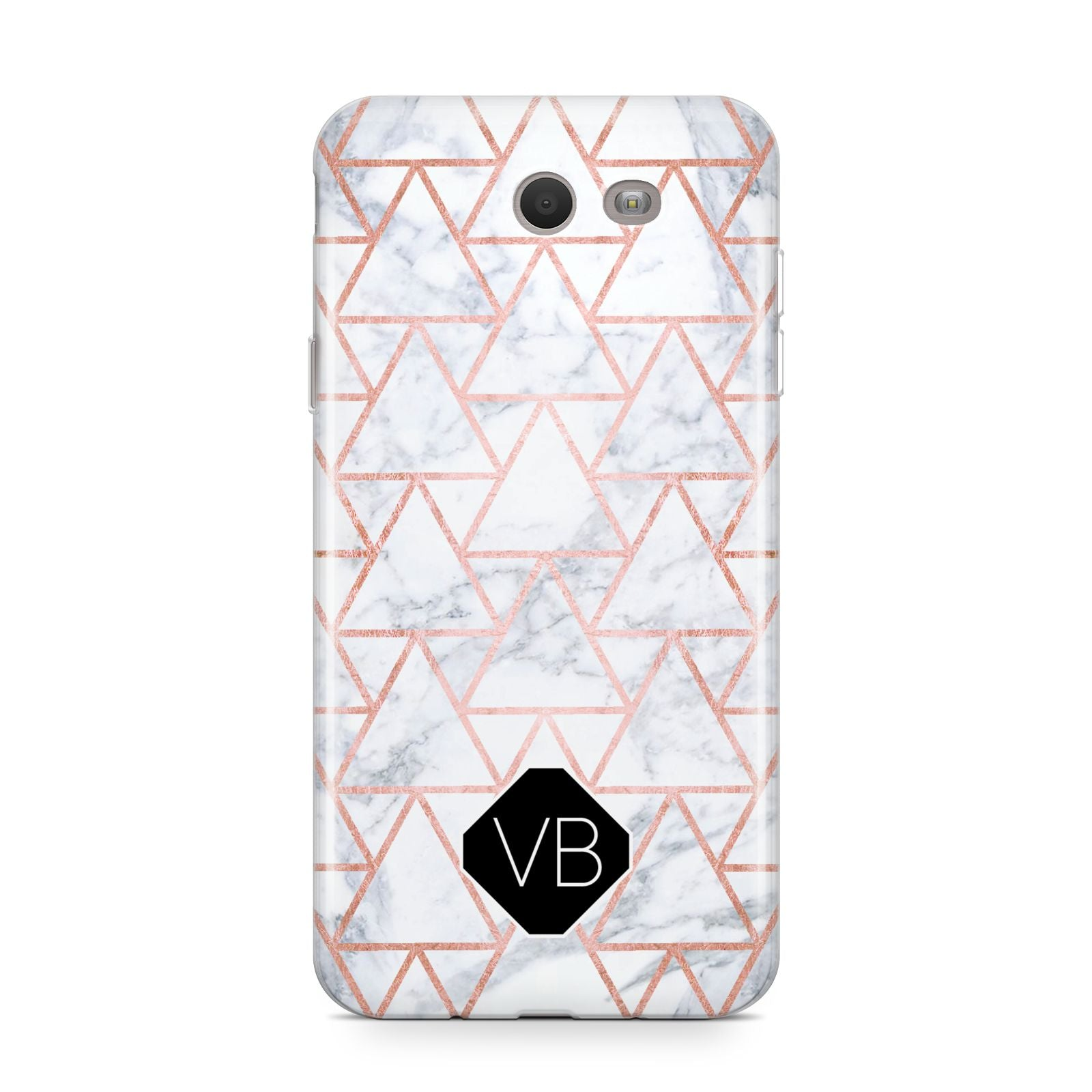 Personalised Rose Gold Grey Marble Hexagon Samsung Galaxy J7 2017 Case