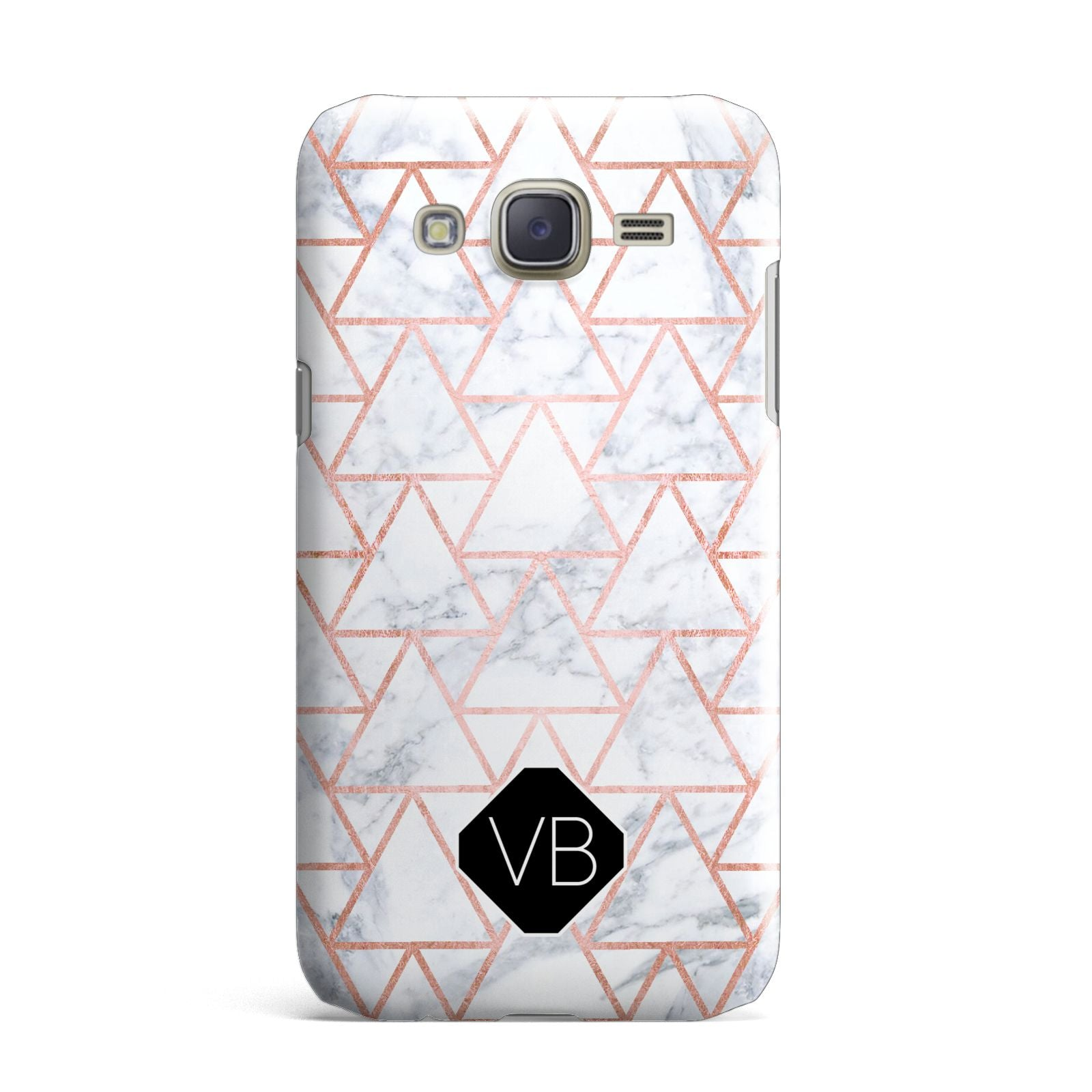 Personalised Rose Gold Grey Marble Hexagon Samsung Galaxy J7 Case