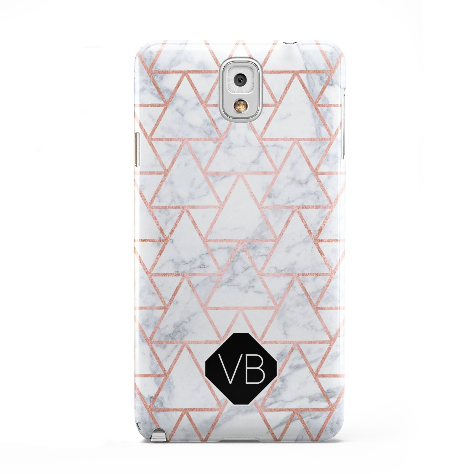 Personalised Rose Gold Grey Marble Hexagon Samsung Galaxy Note 3 Case
