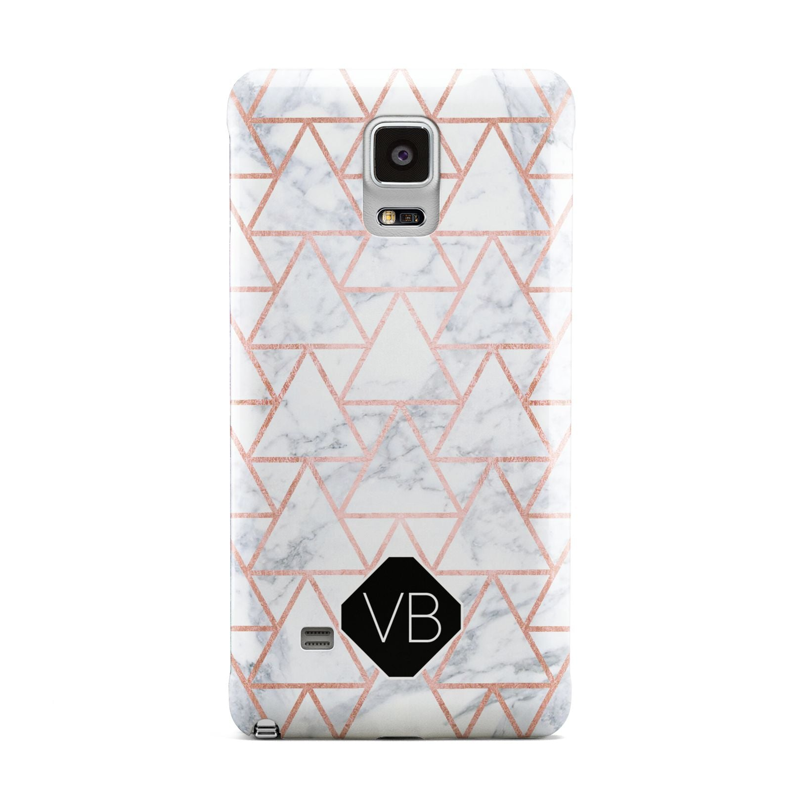 Personalised Rose Gold Grey Marble Hexagon Samsung Galaxy Note 4 Case