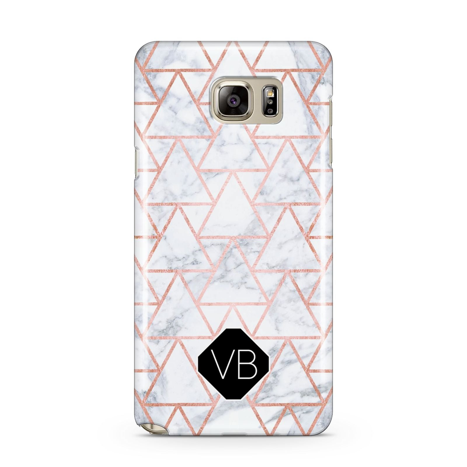 Personalised Rose Gold Grey Marble Hexagon Samsung Galaxy Note 5 Case