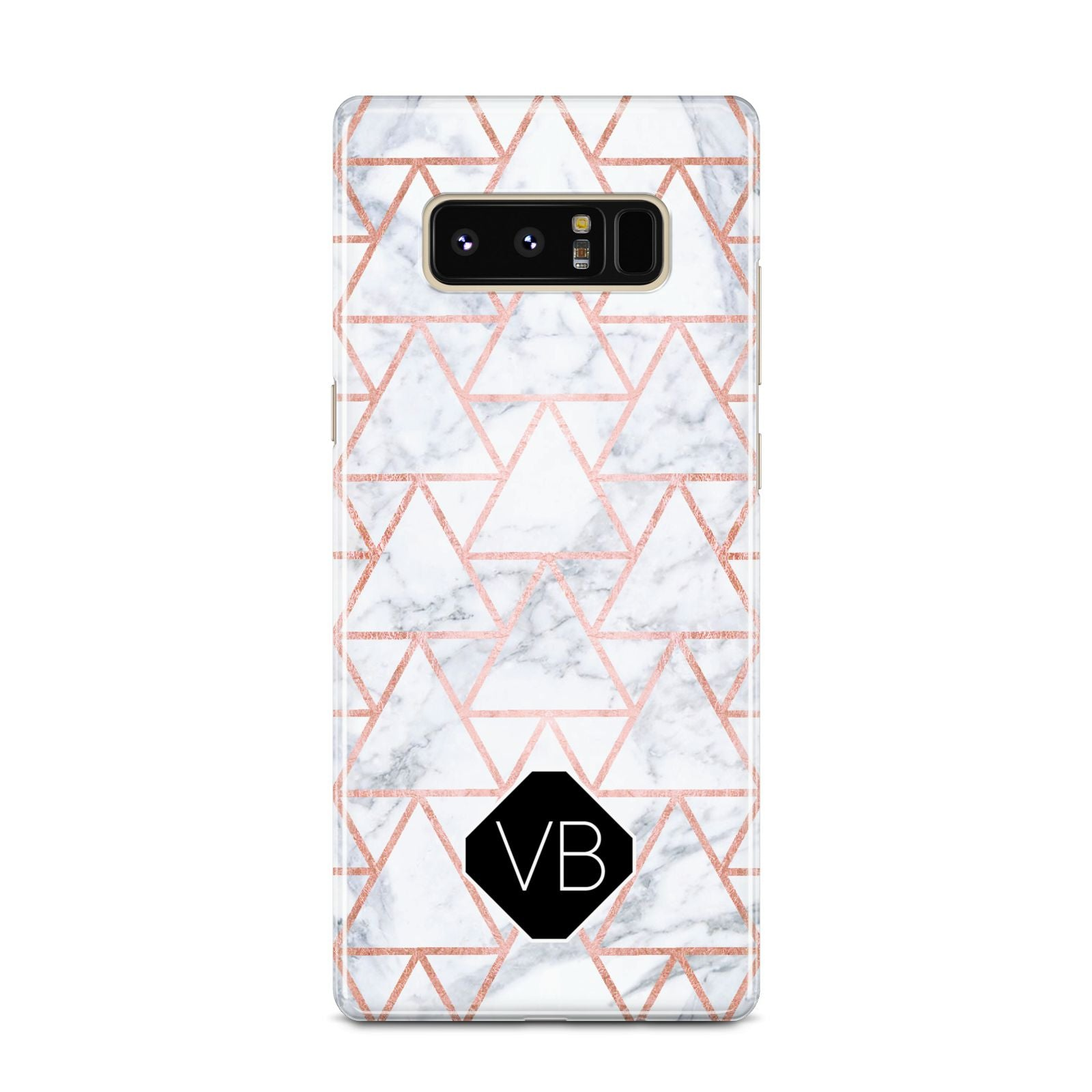 Personalised Rose Gold Grey Marble Hexagon Samsung Galaxy Note 8 Case