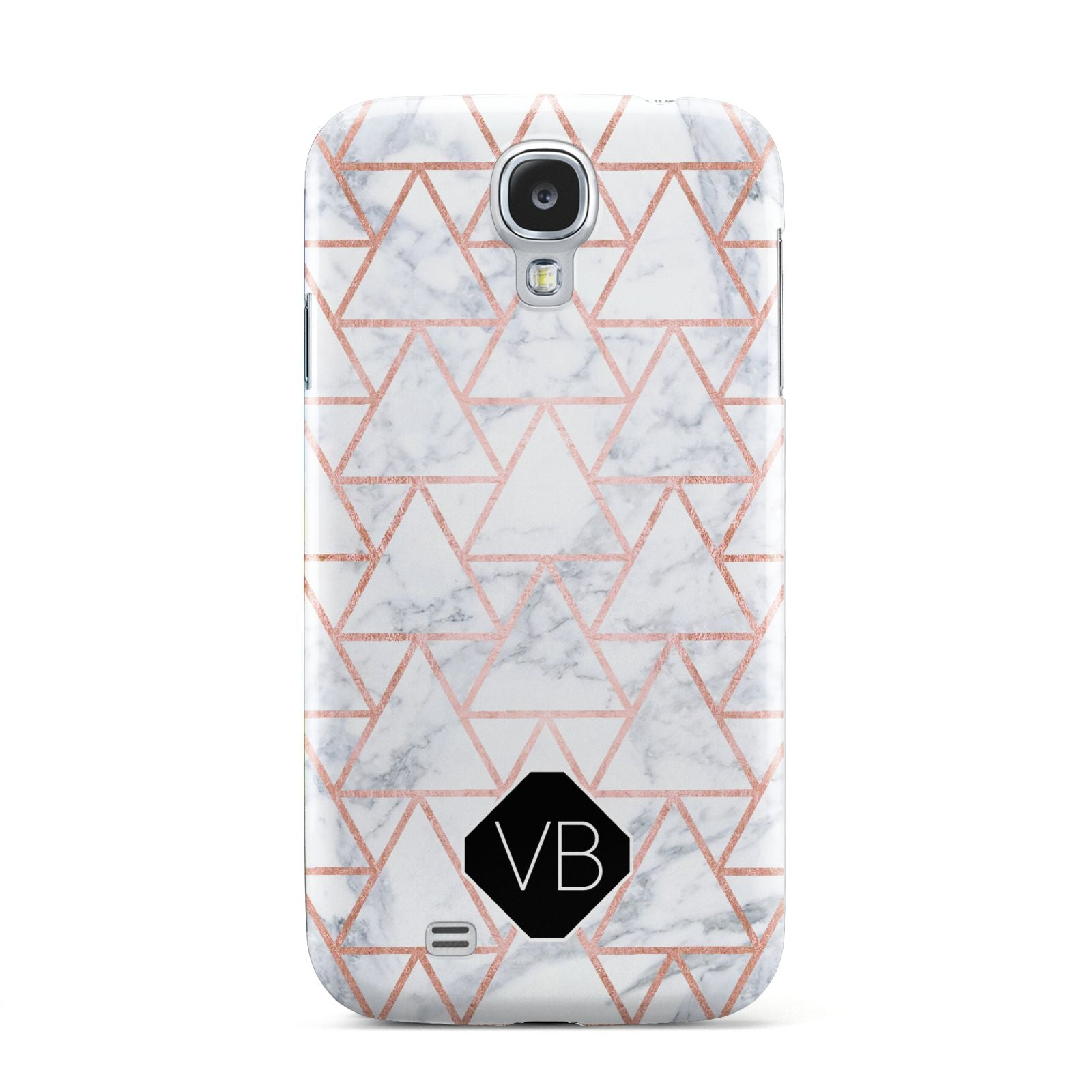 Personalised Rose Gold Grey Marble Hexagon Samsung Galaxy S4 Case