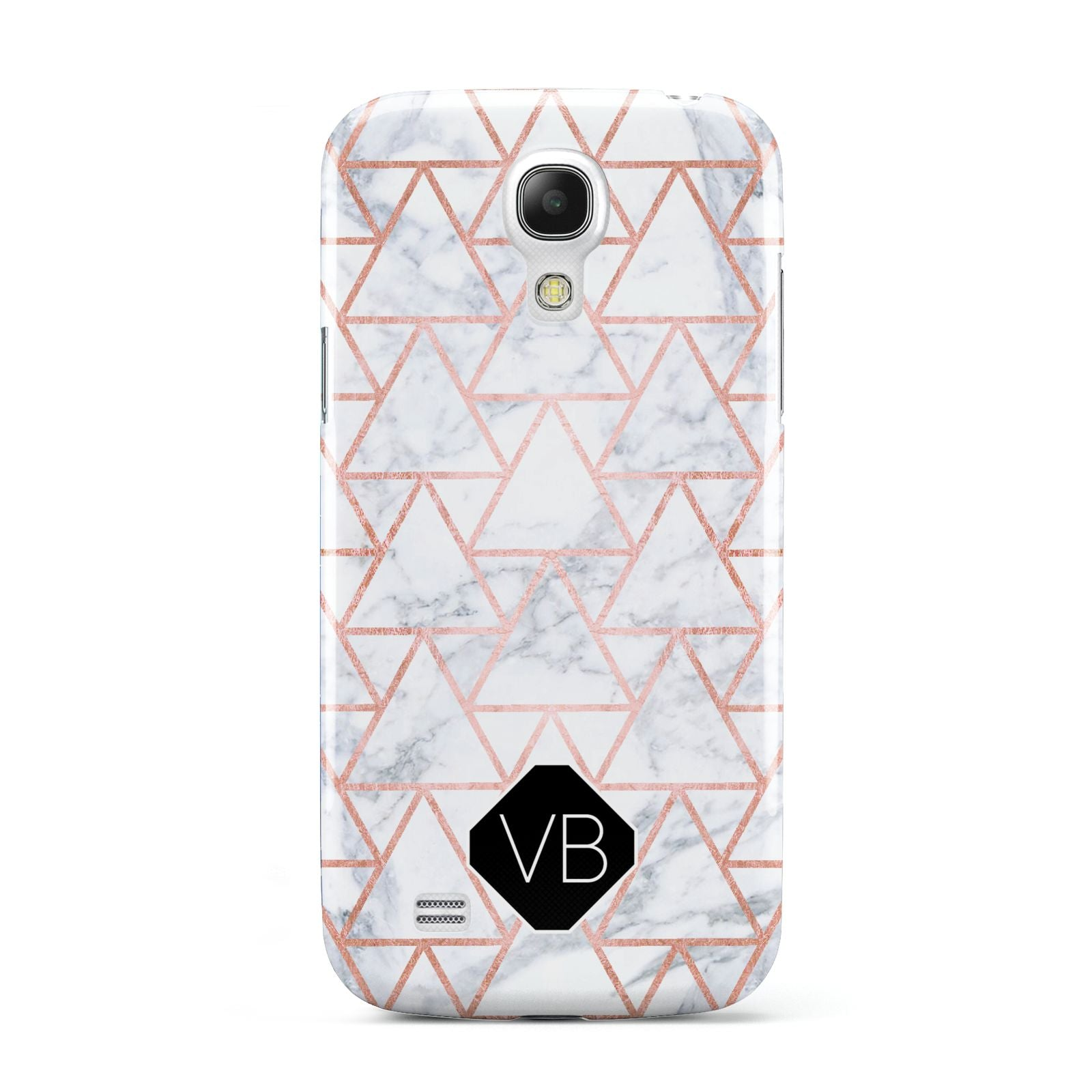 Personalised Rose Gold Grey Marble Hexagon Samsung Galaxy S4 Mini Case
