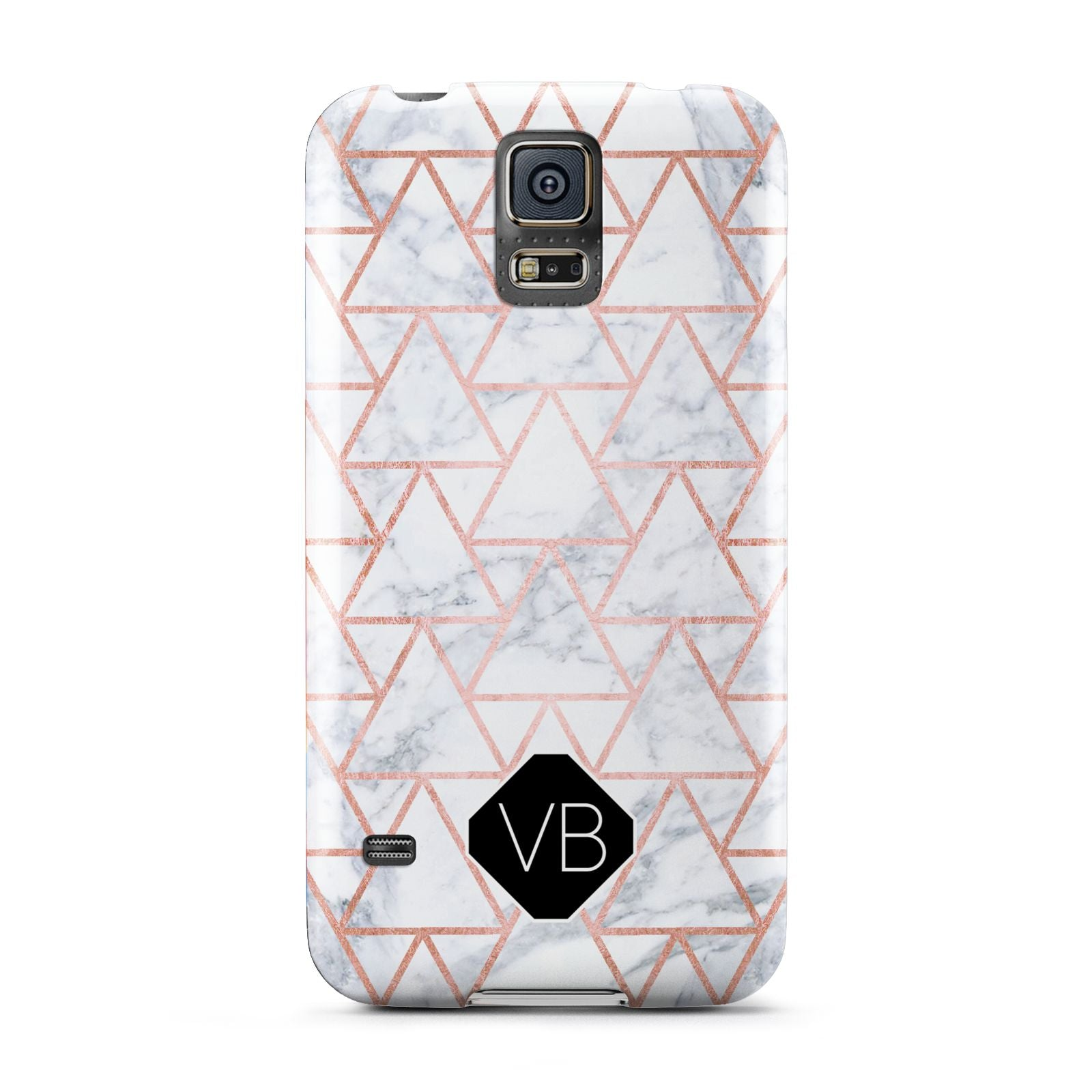 Personalised Rose Gold Grey Marble Hexagon Samsung Galaxy S5 Case