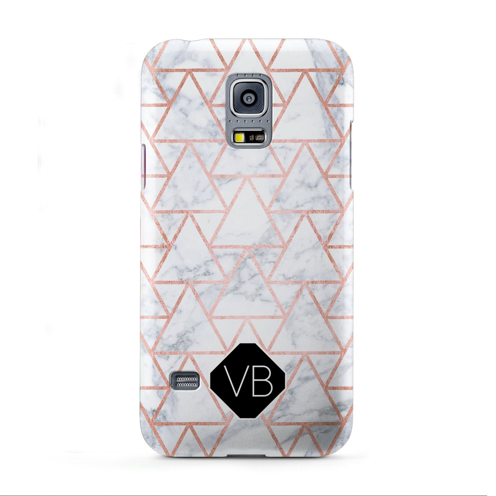Personalised Rose Gold Grey Marble Hexagon Samsung Galaxy S5 Mini Case