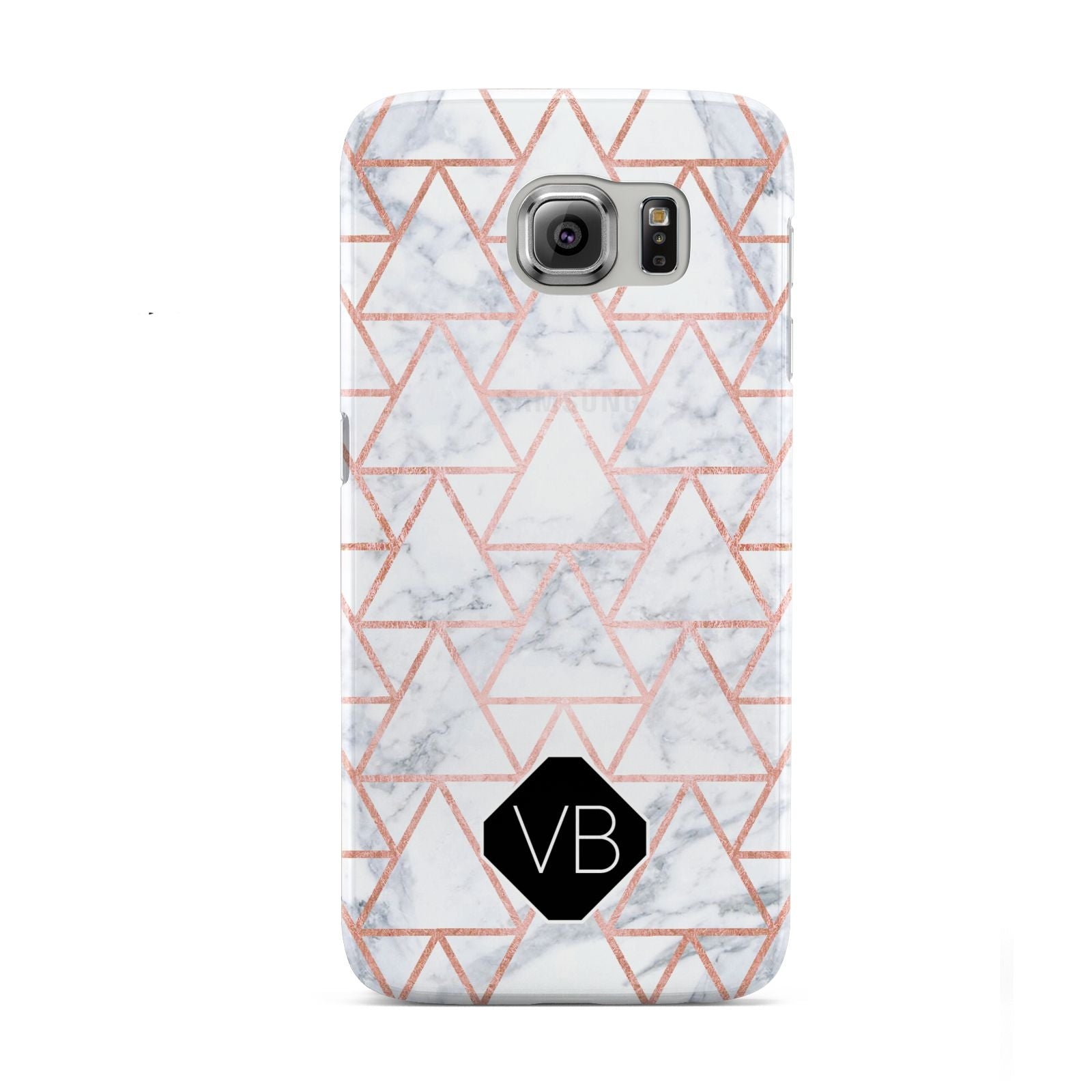 Personalised Rose Gold Grey Marble Hexagon Samsung Galaxy S6 Case