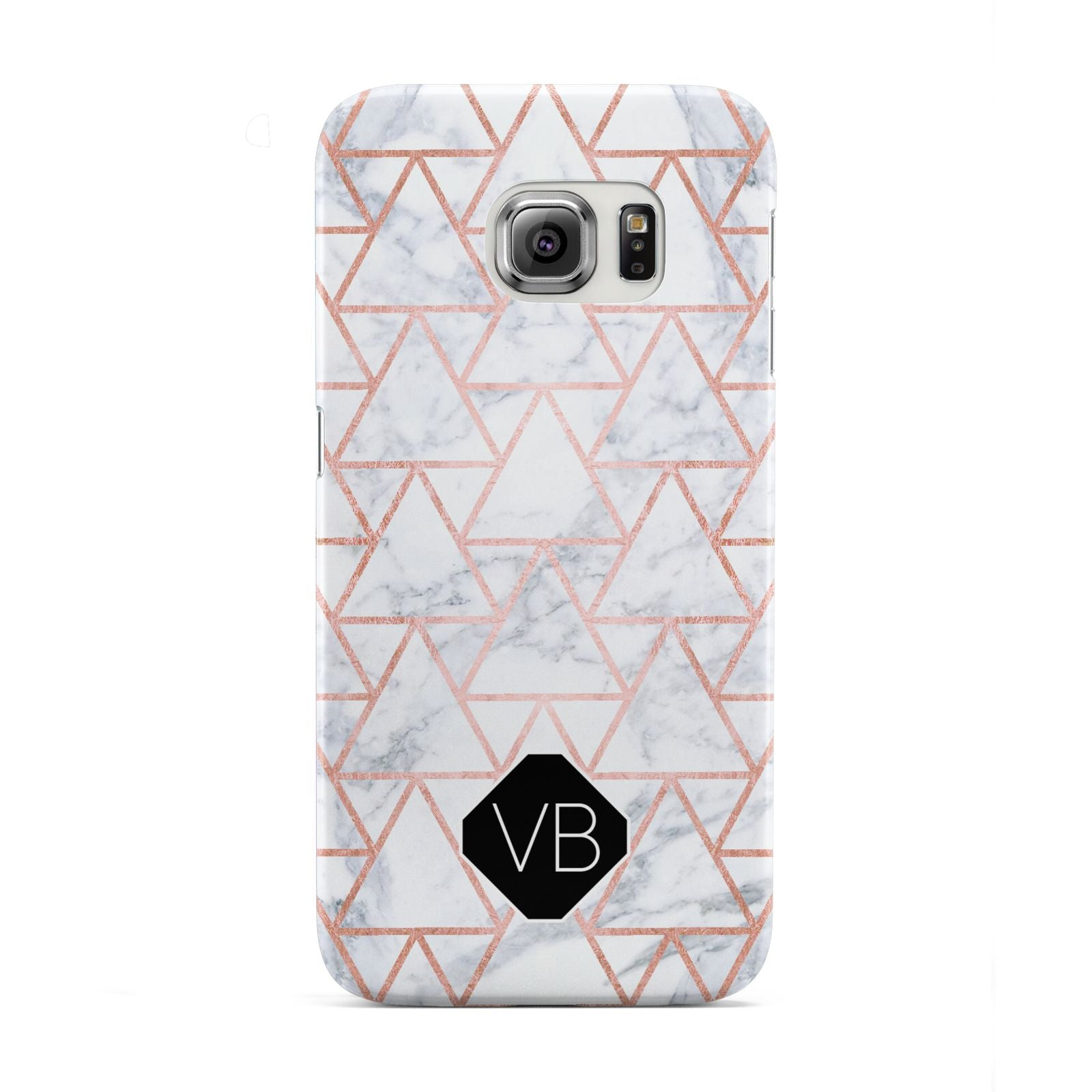Personalised Rose Gold Grey Marble Hexagon Samsung Galaxy S6 Edge Case